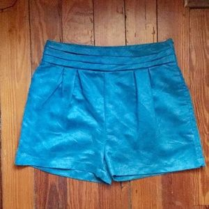 Cotton Candy Teal Faux Suede High Waisted Shorts